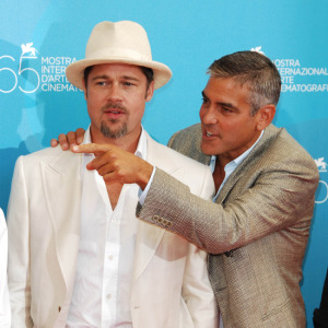 Brad Pitt and George Clooney at the Venice film festival 2008